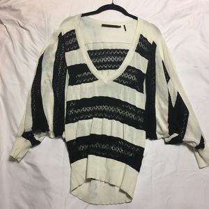 L.A.M.B. Black & White Lace Poofy Sleeve Sweater L